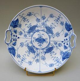 Antieke Thuringen blauw wit porseleinen Strohblumenmuster gebaksschaal