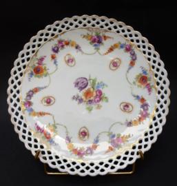 Schumann Bavaria Dresden Floral tulp guirlande camee opengewerkt porseleinen dessertbord