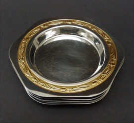 Goldisil zeshoekige RVS verguld ingelegde glas onderzetter - set van vijf
