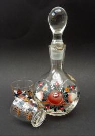 ETG Rattenberg Tirol handbeschilderd schnappskarafje met glazen