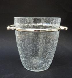 Mid Century craquele kristallen ijsemmer met verchroomd montuur