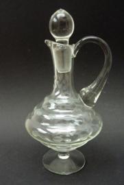 Glazen Mid Century karaf met stippen gravure