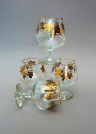 Frans cognac glas met gouden rand en gouden decoratie - set van vier