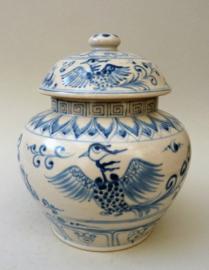 Vintage stijl Chinese blauw wit keramieken dekselvaas