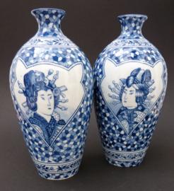 Mosa decor 724 blauw witte Japonisme flesvaas met Geisha - set van twee