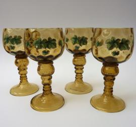 Antiek Fritz Heckert roemer wijnglas met emaille beschildering - set van vier