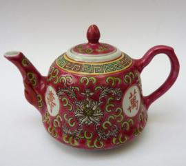 Chinees roze porseleinen Mun Shou Longevity theepotje voor 1 persoon