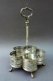 Antieke Franse verzilverde houder voor condimentstel zonder flessen