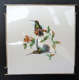 Mosa vintage tegel onderzetter kolibries