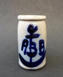 Antiek zoutgeglazuurd mosterdpotje Adam Bernhard Bergrath