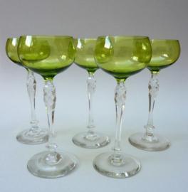 Art Nouveau groene kristallen rijnwijn glazen