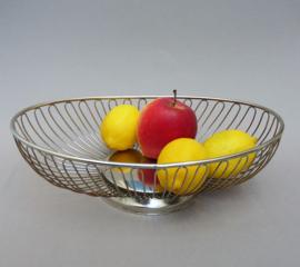 Mid Century Modern design verchroomde draadmand voor brood of fruit