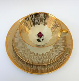 Mitterteich Mid Century dejeuner set goud met rode roos