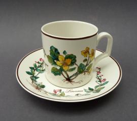 Villeroy Boch Botanica Douwe Egberts koffiekop met schotel Chelidonium en Linnaea