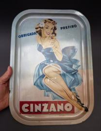 Cinzano Mid Century pin up girl dienblad