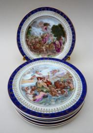 Vienna stijl antieke dessertbordjes - set van zes