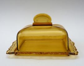 Art Deco amberkleurige persglazen boterstolp met onderbord
