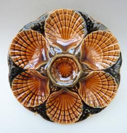 Sarreguemines barbotine coquille oester bord