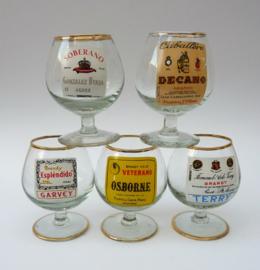 Jaren zestig Spaanse brandy glazen - set van vijf