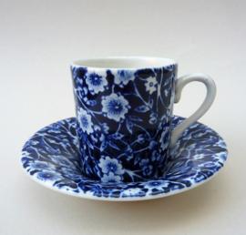Burleigh Pottery Blue Calico espresso kop met schotel
