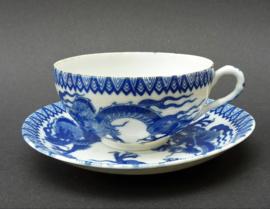 Japanse Arita blauw wit porseleinen Dragon kop en schotel