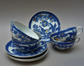 Japanse Meiji blauw wit transferware porseleinen kop en schotel - set van 4