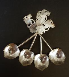 Djokja Wajang zilveren fruit ijs lepels
