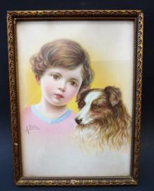 Brocante ingelijst dertiger jaren prentje van meisje met hond gesigneerd A Kollin