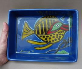 Corneille 1999 blauwe porseleinen ovenschaal met vis
