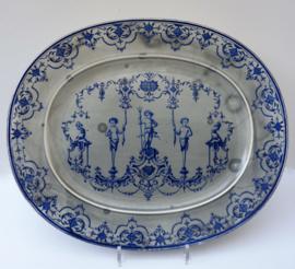Jules Vieillard et Cie antieke grote serveerschaal decor Moustiers