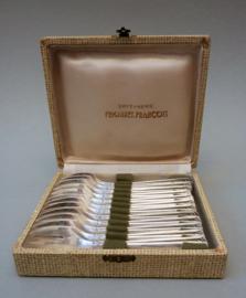 Frionnet Francois Art Deco verzilverde oestervork set 12 delig