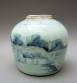 Antieke Kantonese blauw witte porseleinen gemberpot