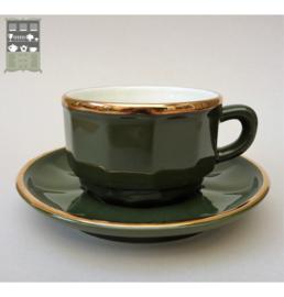 Apilco cappuccino kop en schotel groen Vert Empire met goud