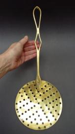 Antieke 19e eeuwse messing schuimspaan