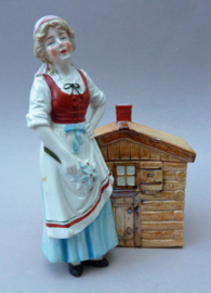 Antieke Duitse porseleinen tabaksdoos Vrouw bij berghut