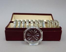 Mid Century kristallen achthoekige glas onderzetter - set van twaalf