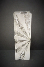 Loodkristallen seventies vaas met zonnestraal decor