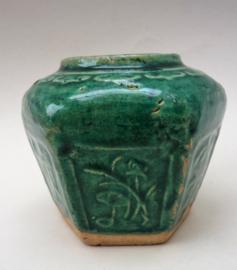 Chinese turquoise groen geglazuurde Shiwan gemberpot 9,5 cm