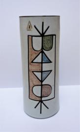 Potterie De Groene Kan Mid Century Modernist vaas met abstracte decoratie
