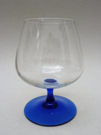 Luminarc France Oceane Blue Saphire cognac glas op blauwe voet
