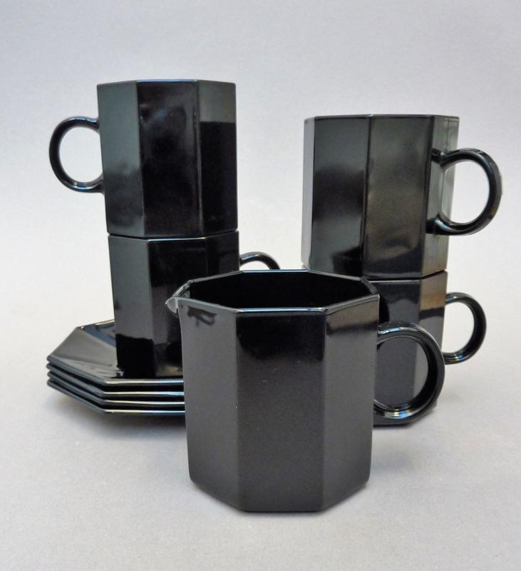 Arcoroc octime black coffee cups and creamer | Arcoroc