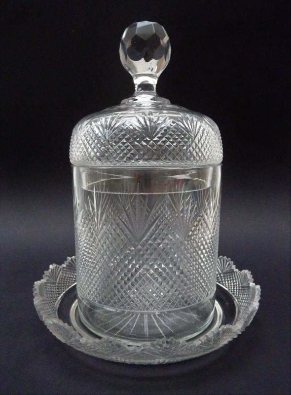 Antieke Glazen Kandelaars.Antieke 19e Eeuwse Kristallen Beschuitbus Met Wilhelmina Slijpsel