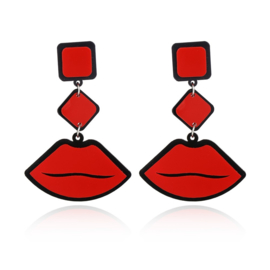 STATEMENT EARRINGS - red lips (pair)