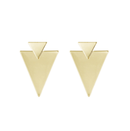 DOUBLE TRIANGLE EARRING - gold (pair)