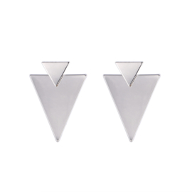 DOUBLE TRIANGLE EARRINGS - silver (pair)