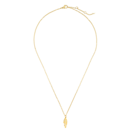 TINY FEATHER NECKLACE - gold