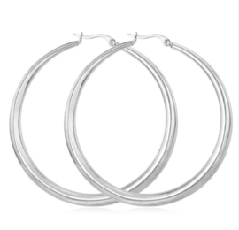 GYPSY HOOPS - silver large RVS (pair)