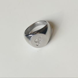 SIGNET INITIAL RING F - silver