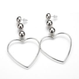CLASSY HEARTS - silver (pair)