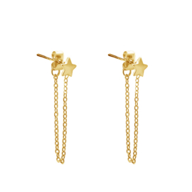 STAR CHAIN EARRING - gold (piece)